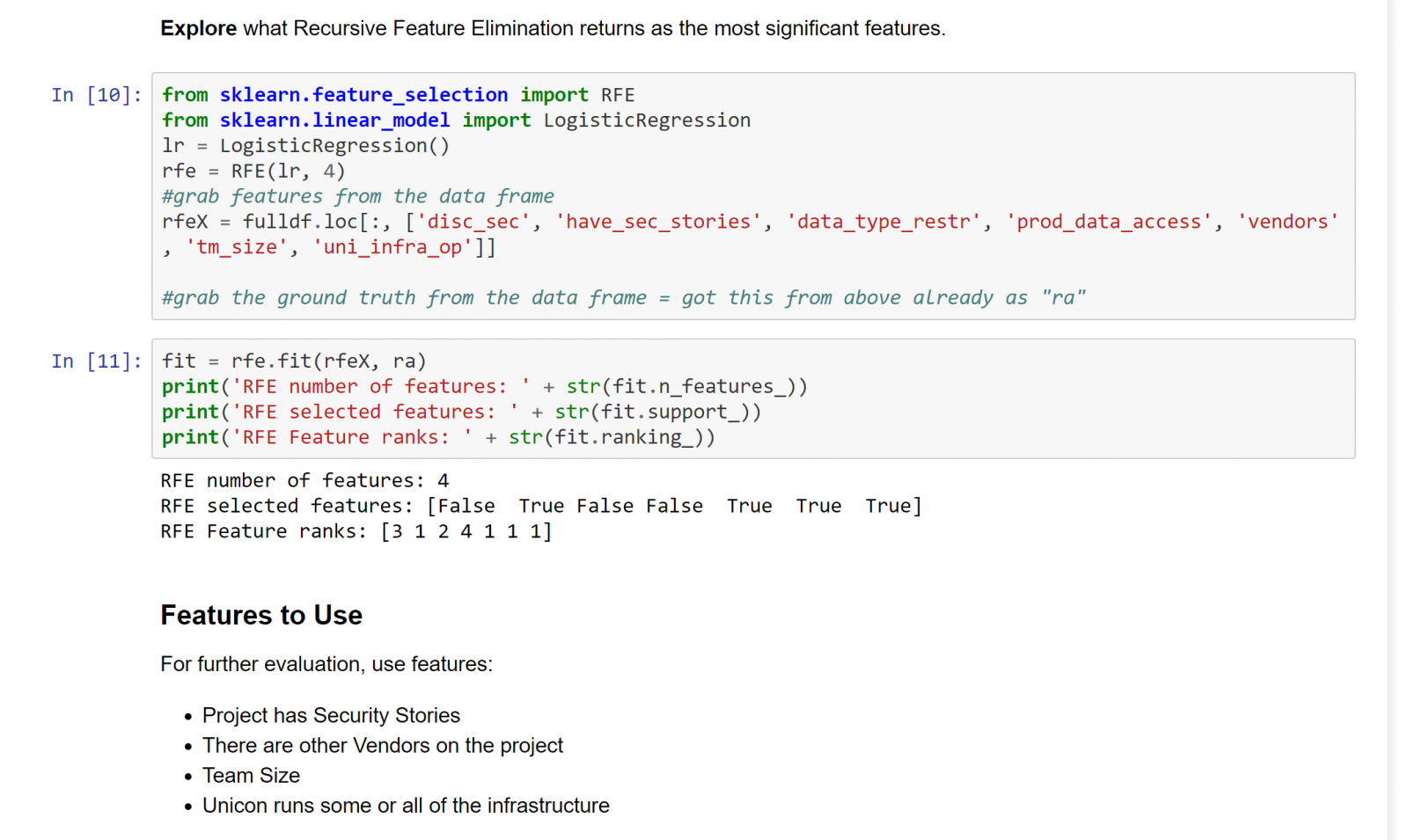 Screenshot from Jupyter Notebook showing recursive feature selection