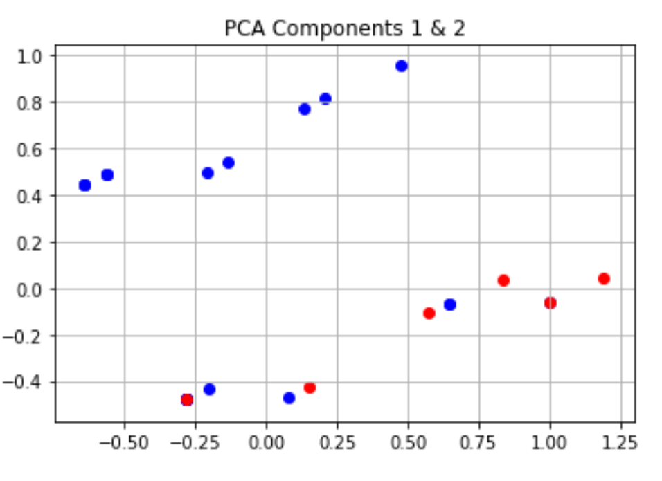 Screenshot from Jupyter Notebook showing a plot of the first two PCA dimensions.